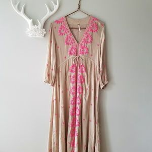 Free People | Fable Embroidered Maxi Dress Khaki